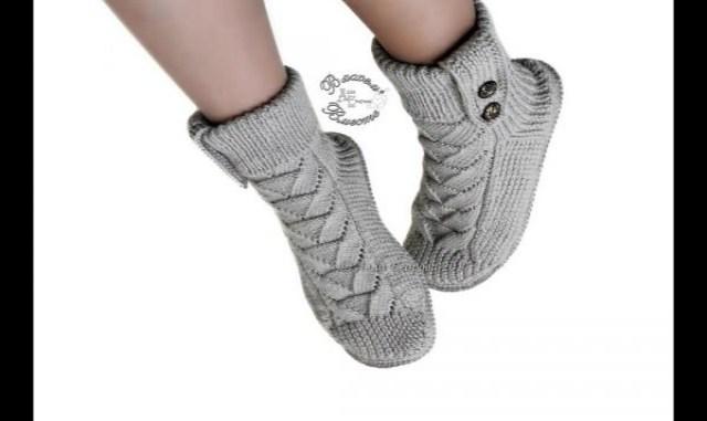 Тепленькие носки сапожки спицами для взрослых