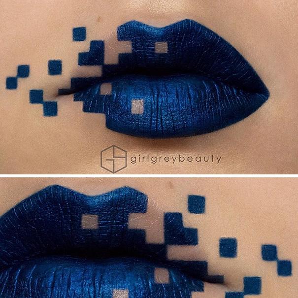 Визажист превращает свои губы в произведения искусства.