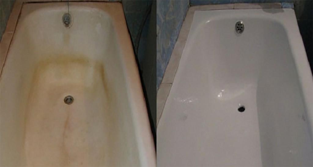 Чем почистить ванну от желтых пятен фото
