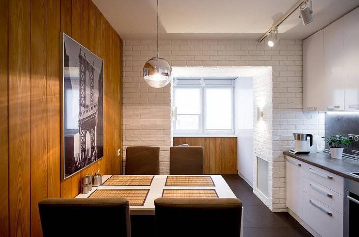 Однорядная кухня с обеденной зоной