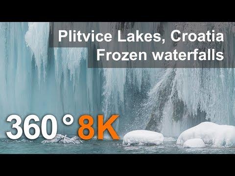 360°, Plitvice Lakes in Winter, Croatia. 8K aerial video
