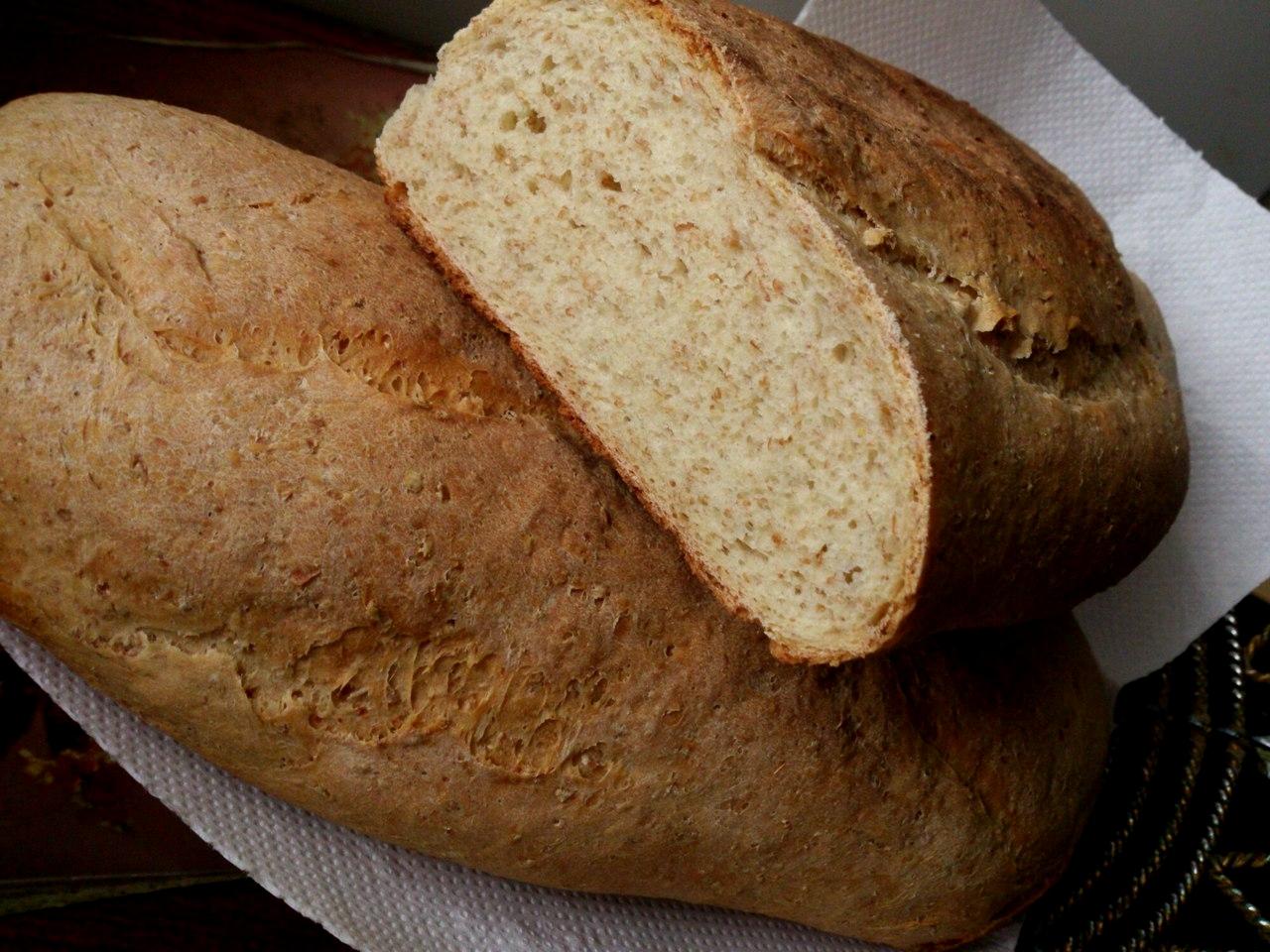 Пшеничный хлеб с отрубями - полезно и вкусно.