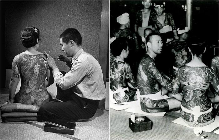 Японские гангстеры: Ретро фотографии якудза с устрашающими татуировками