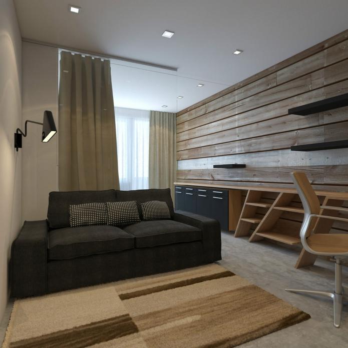гостиная в дизайне однокомнатной квартиры 33 кв. м.