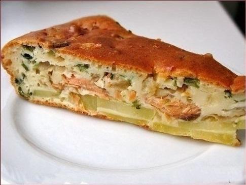 Замечательное дополнение к обеду — Рыбный заливной пирог с картошкой