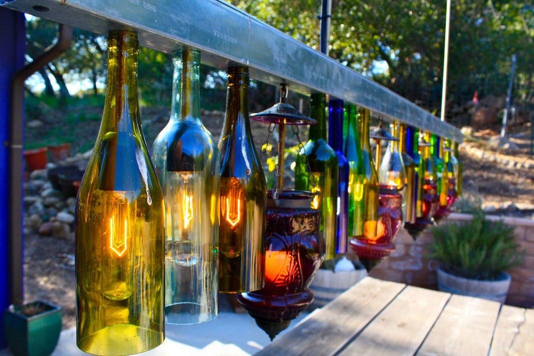 Украшения для сада оригинальные задумки из бутылок