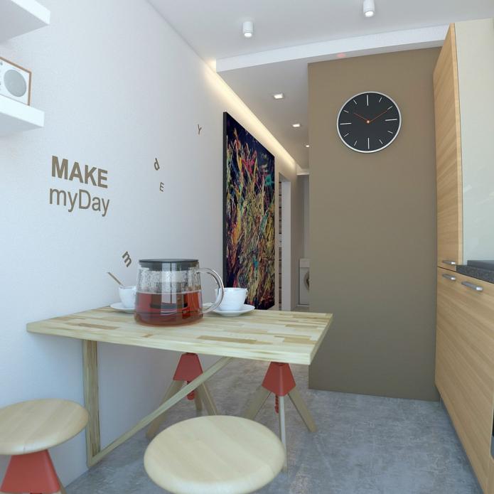 кухня в дизайне однокомнатной квартиры 33 кв. м.