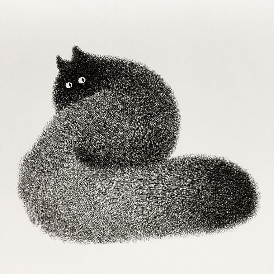 Малазийский художник рисует пушистых котов, используя только гелевую ручку, – и результат прекрасен