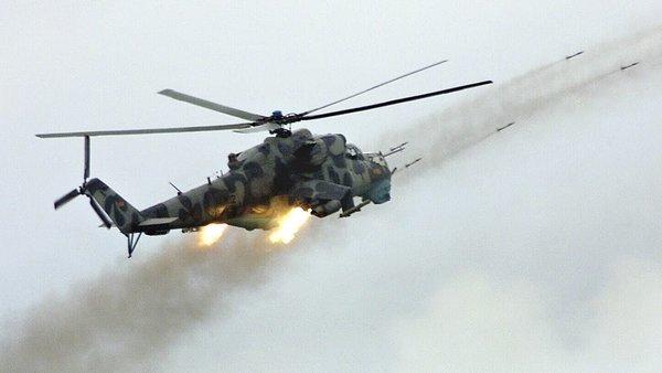 """Боевой вертолет """"Ми-24"""" в дейтсвии"""