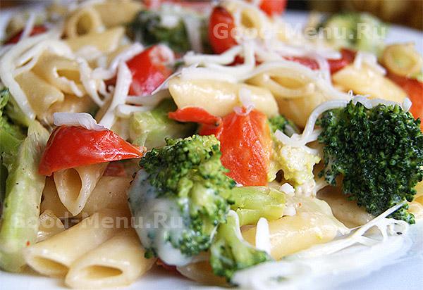 Макароны с овощами и сыром - рецепт