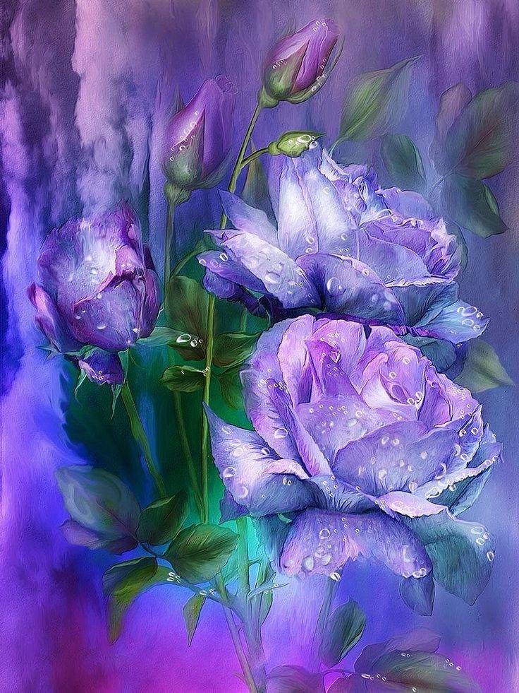 Картинки по запросу синие розы акварелью