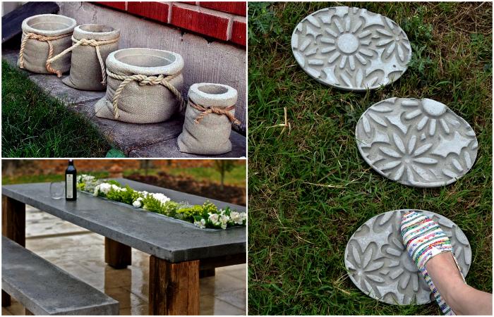18 идей использования  бетона при создании декора во дворе или в саду