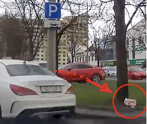 В Минске пассажир Mercedes швырнул на газон пакет с мусором. Как на такое реагируют в Польше?
