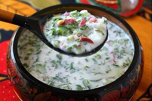 Окрошка с салями на кефире и газированной воде