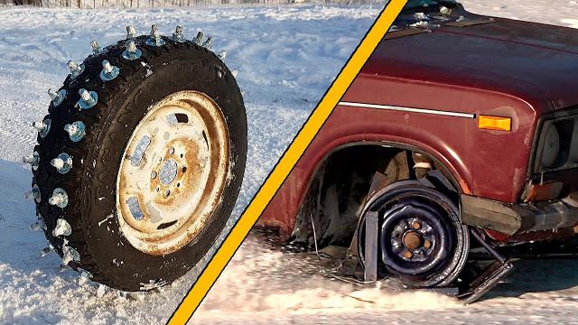 Лыжи + шины с лютыми шипами из болтов на ледовом треке