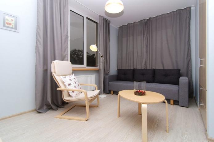 гостиная в однокомнатной квартиры 44 кв. м.