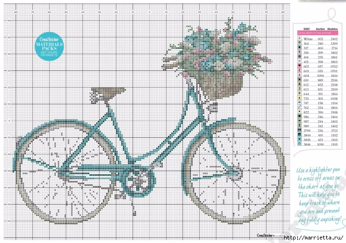 Вышиваем велосипед. Идеи со схемами (41) (700x491, 307Kb)