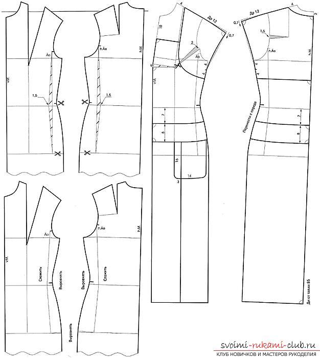 Построение выкройки платья на ткани