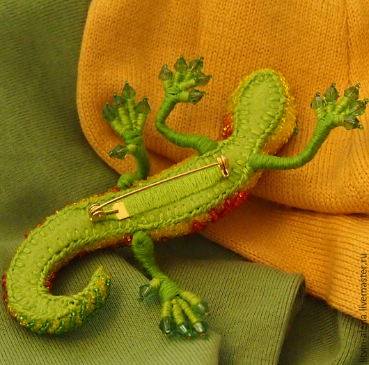 Brooches handmade. A beaded brooch 'Oktyabrina' Brooch lizard. Autumn brooch. master Alena Litvin. My Livemaster.brooch