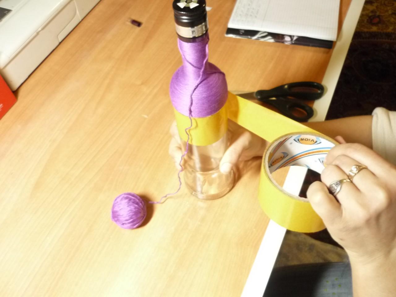 Как делаются плетёные бутылочки: мастер - класс
