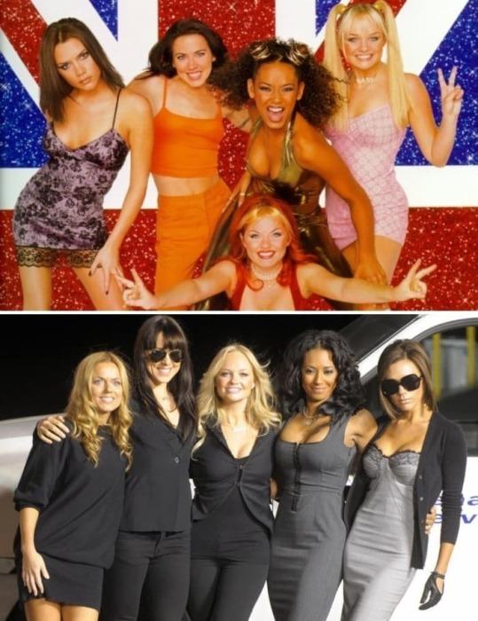 Участницы группы *Spice girls* тогда и сейчас | Фото: fishki.net и vev.ru