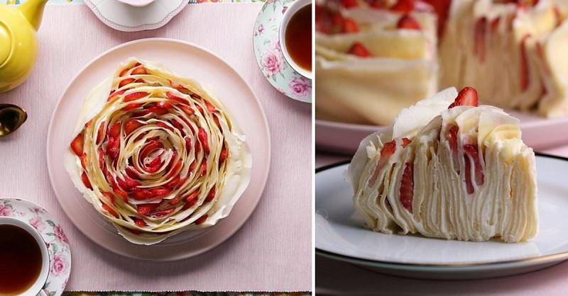 Нажарила, обмазала, завернула… Блинный торт с клубникой, невиданная красота!