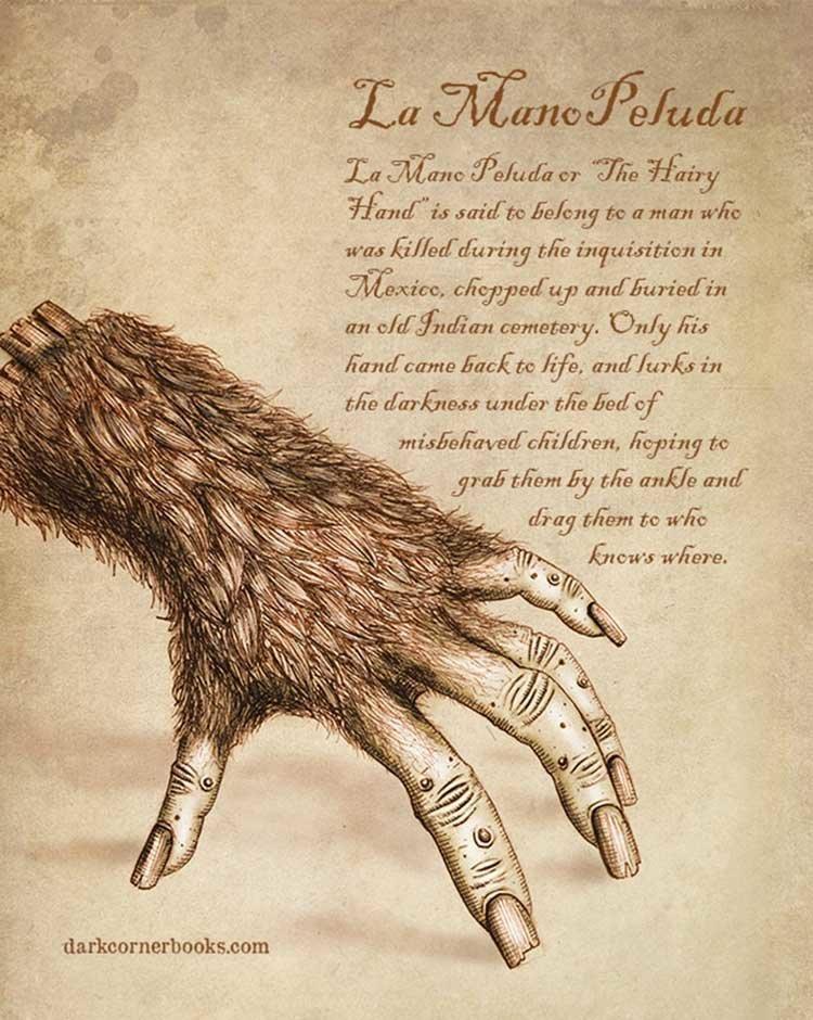 9. Ла Мано Педула (La Mano Peluda) жуть, иллюстрация, мифические существа, рисунок