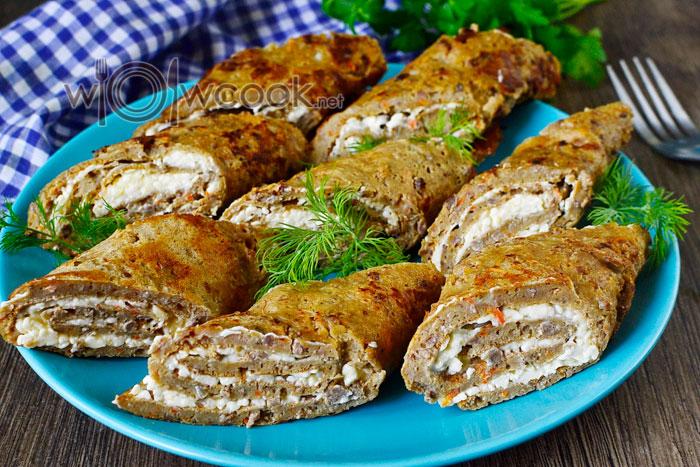 Рулетики из куриной, свиной или говяжьей печени с начинкой