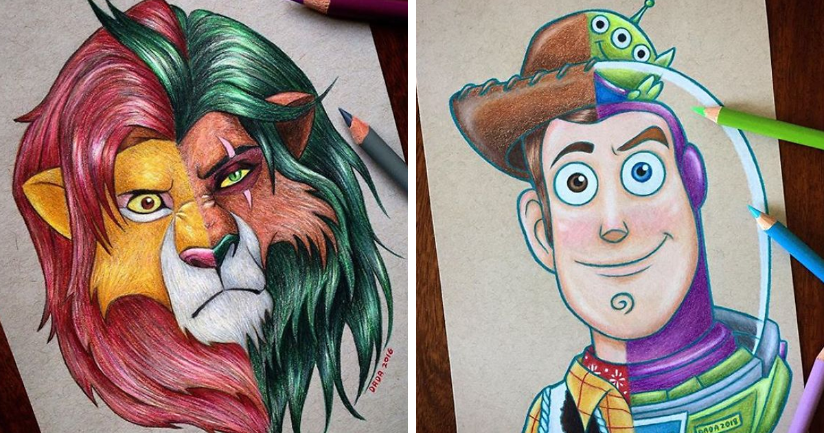 I Combine Two Characters Into One In My Colored Pencil Illustrations (63 Pics)