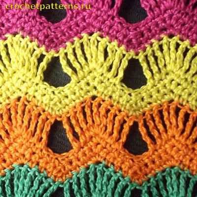 Разноцветные узоры крючком