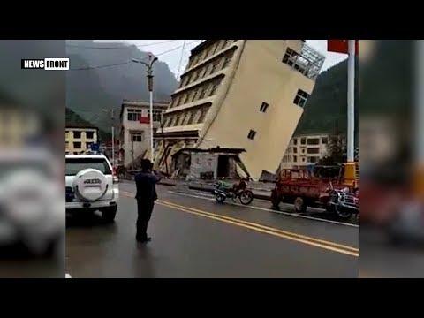Наводнением смыло пятиэтажный дом и грузовик в Тибете