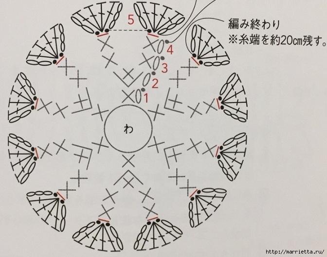Цветочные сережки крючком. Схемы (3) (672x529, 210Kb)