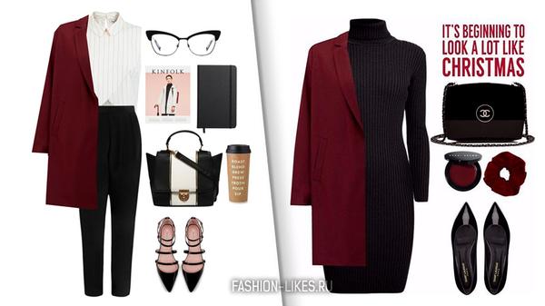 7 стильных образов с бордовым пальто для истинных аристократок