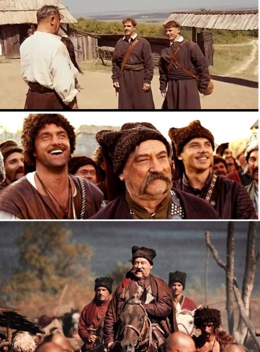 Кадры из к/ф «Тарас Бульба». Тарас Бульба с сыновьями Остапом и Андрием.