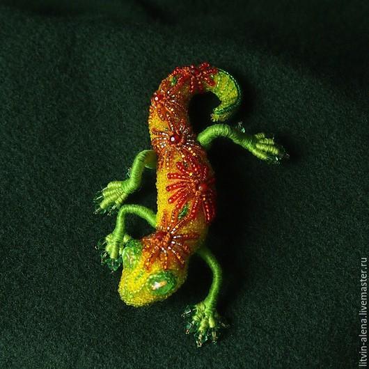 Brooches handmade. Order A beaded brooch 'Oktyabrina' Brooch lizard. Autumn brooch. master Alena Litvin. Livemaster.