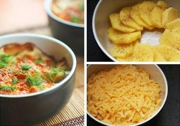 Простой в приготовлении картофель, запеченный в сливках с сыром