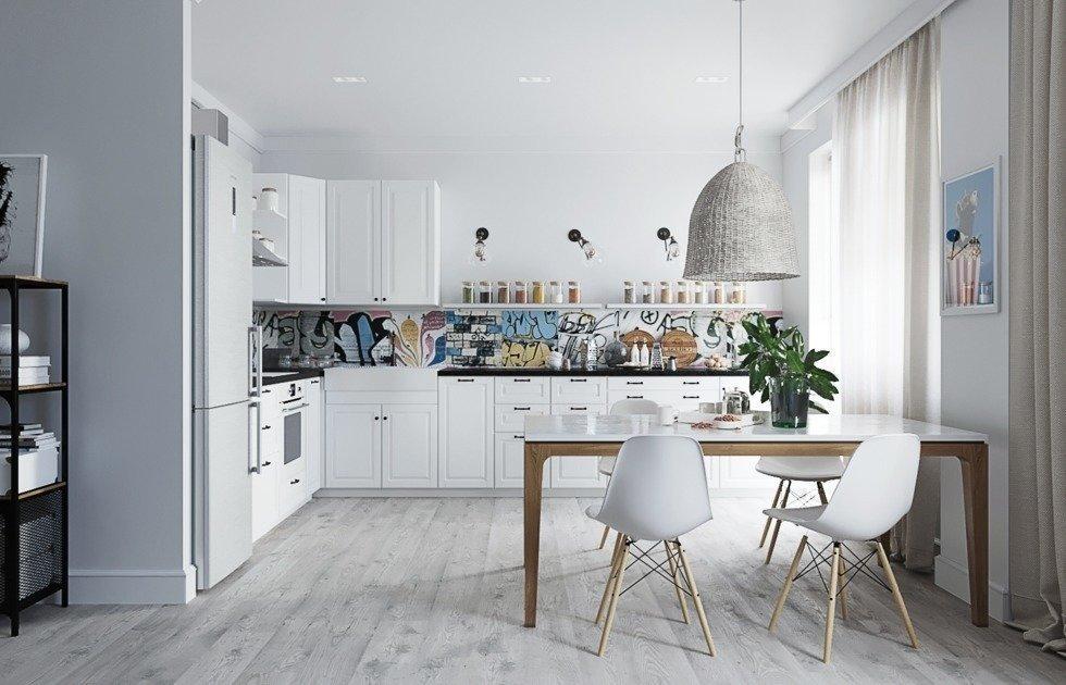 Трешка в скандинавском стиле с мебелью ИКЕА
