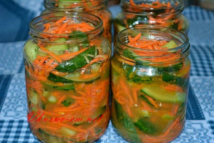 Огурцы по Корейски с Морковью, рецепт на зиму