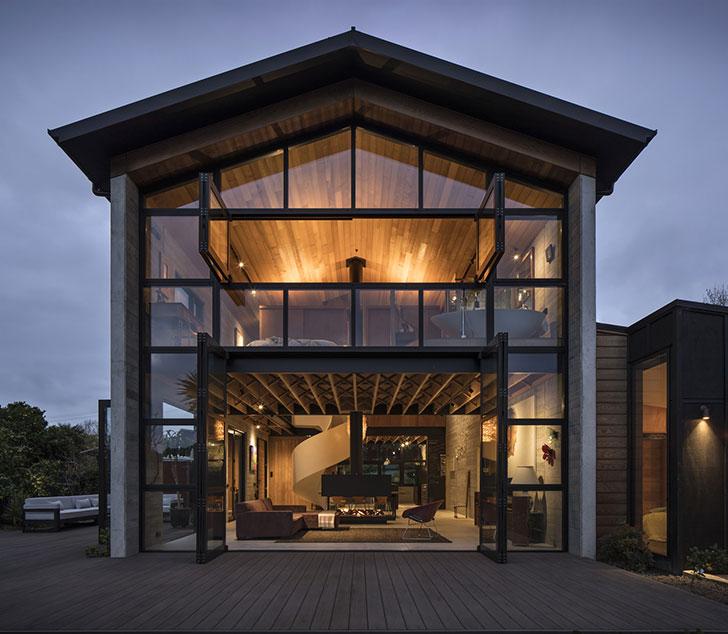 Современный дом правильной формы в Новой Зеландии