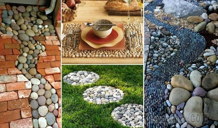 17 вдохновляющих идей использования пляжной гальки у себя на даче или во дворе