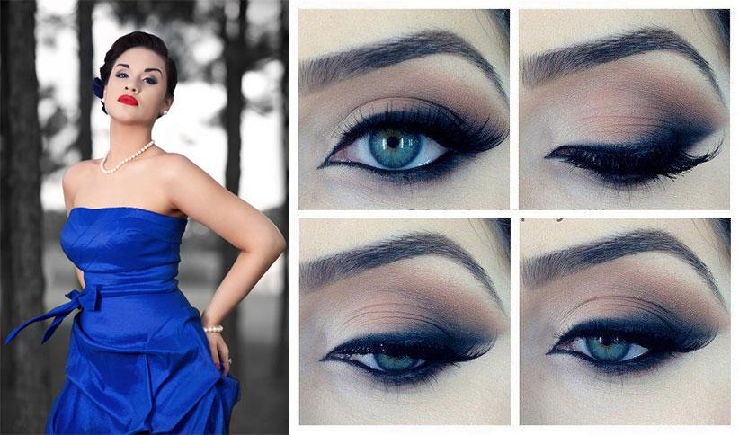 Вечерний макияж глаз для голубых глаз