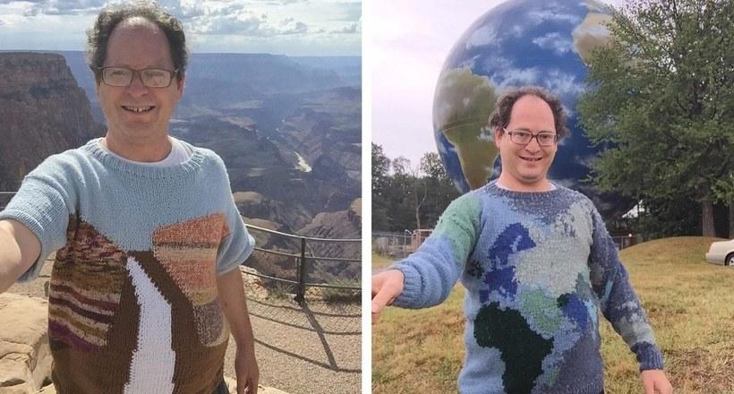 Мужчина вяжет свитера с разными локациями, а затем надевает их для фото в этих местах