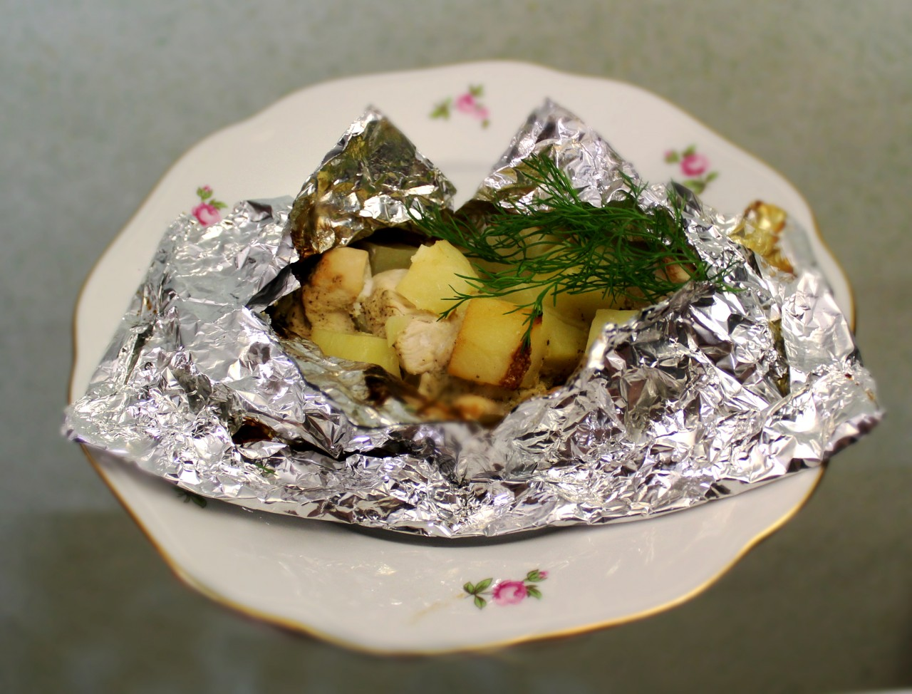 Куриное филе в  медово-горчичном соусе  с картошкой