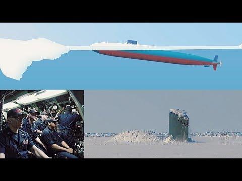 Пробивающая лед американская подлодка попала на видео