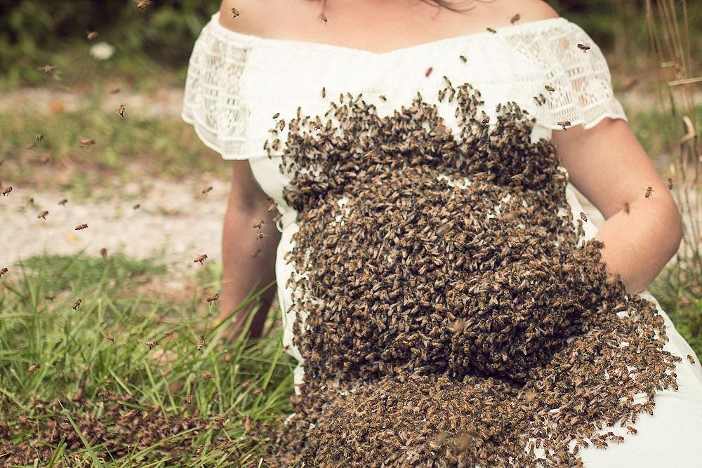 Жу-жу-жутковатые кадры: беременная американка устроила фотосессию с роем пчел