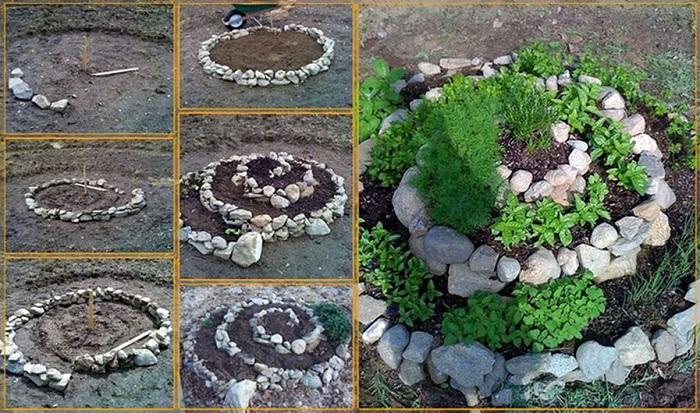 Симпатичная клумба, которая выложена камнями, порадует глаз на протяжении не одного дня.