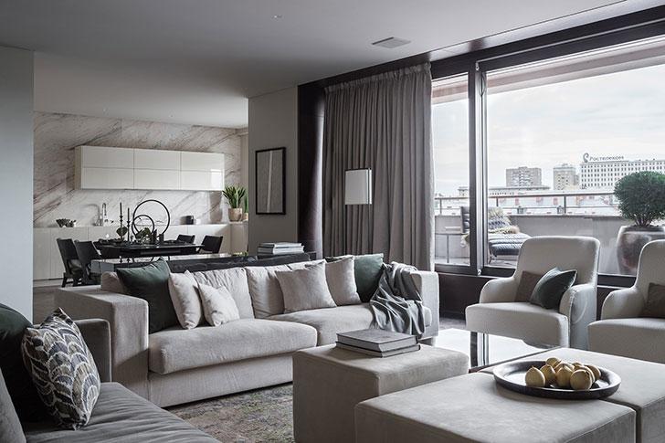 Изысканная современная квартира с потрясающей террасой в Москве