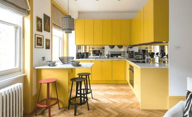 Кухня в желтом цвете: энергичный интерьер
