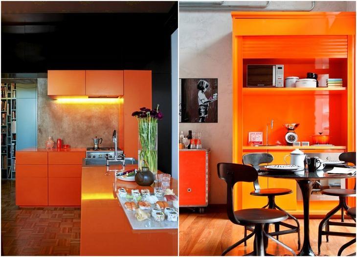 дизайн оранжевой кухни фото