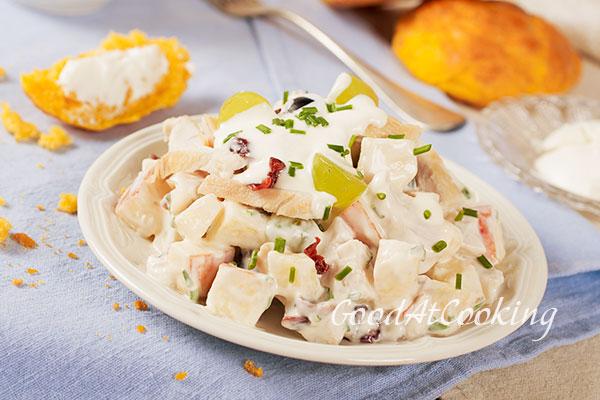 Рецепт куриного салата с фруктами с пошаговыми фотографиями
